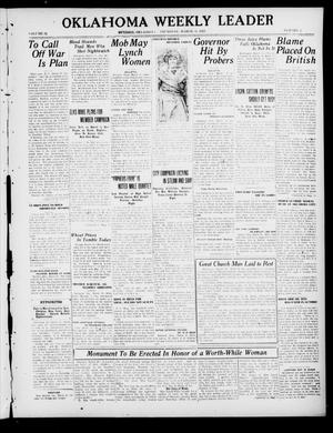Primary view of object titled 'Oklahoma Weekly Leader (Guthrie, Okla.), Vol. 31, No. 3, Ed. 1 Thursday, March 31, 1921'.