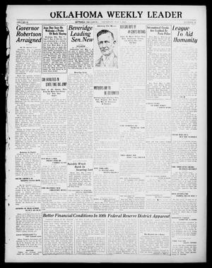 Primary view of object titled 'Oklahoma Weekly Leader (Guthrie, Okla.), Vol. 31, No. 11, Ed. 1 Thursday, May 4, 1922'.