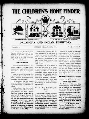 Primary view of object titled 'The Children's Home Finder (Guthrie, Okla.), Vol. 1, No. 2, Ed. 1 Friday, March 1, 1901'.