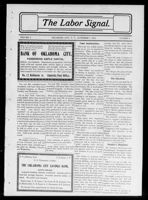 Primary view of object titled 'The Labor Signal. (Oklahoma City, Okla. Terr.), Vol. 3, No. 4, Ed. 1 Friday, November 7, 1902'.
