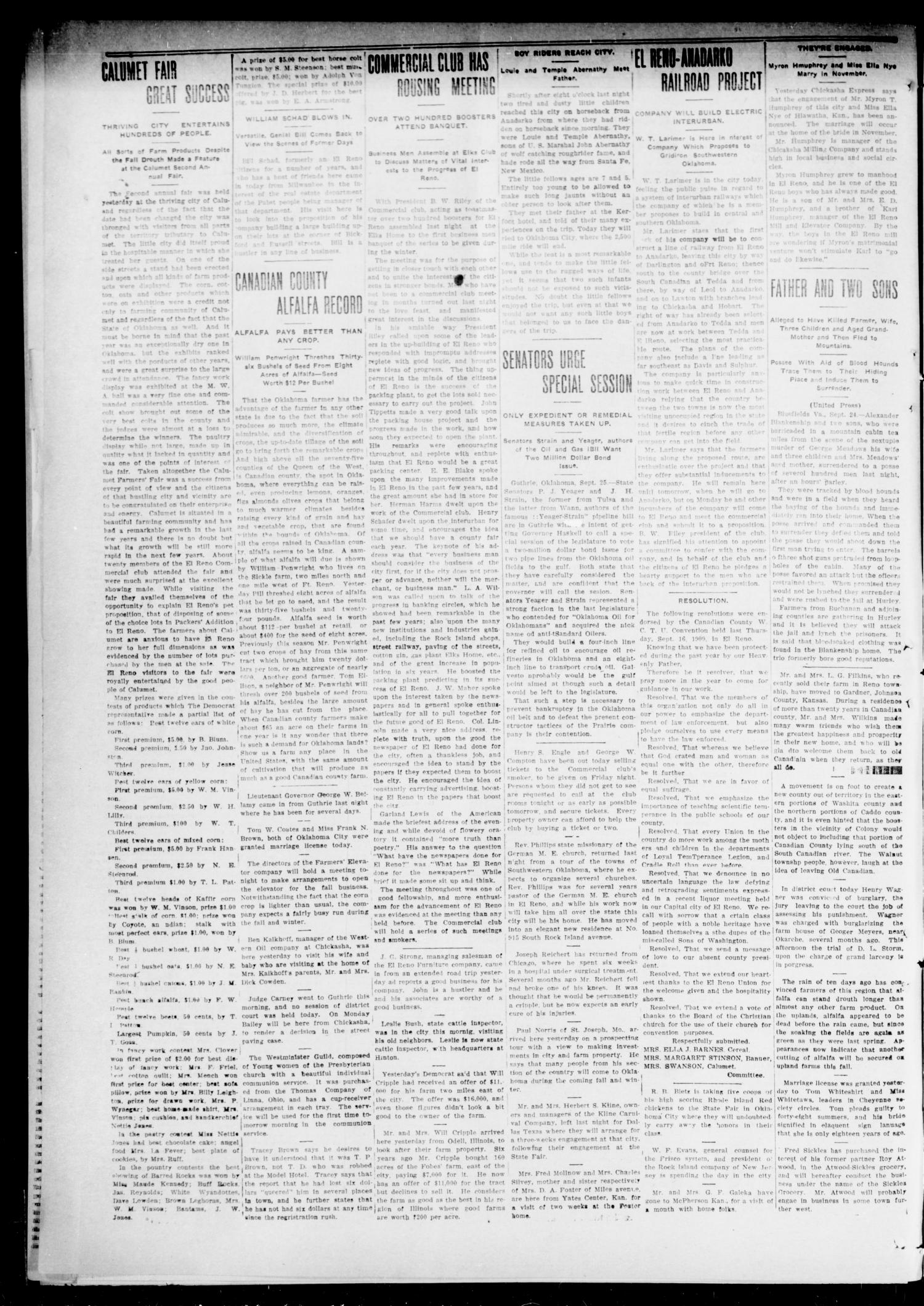 The El Reno Democrat (El Reno, Okla.), Vol. 21, No. 30, Ed. 1 Thursday, September 30, 1909                                                                                                      [Sequence #]: 2 of 8