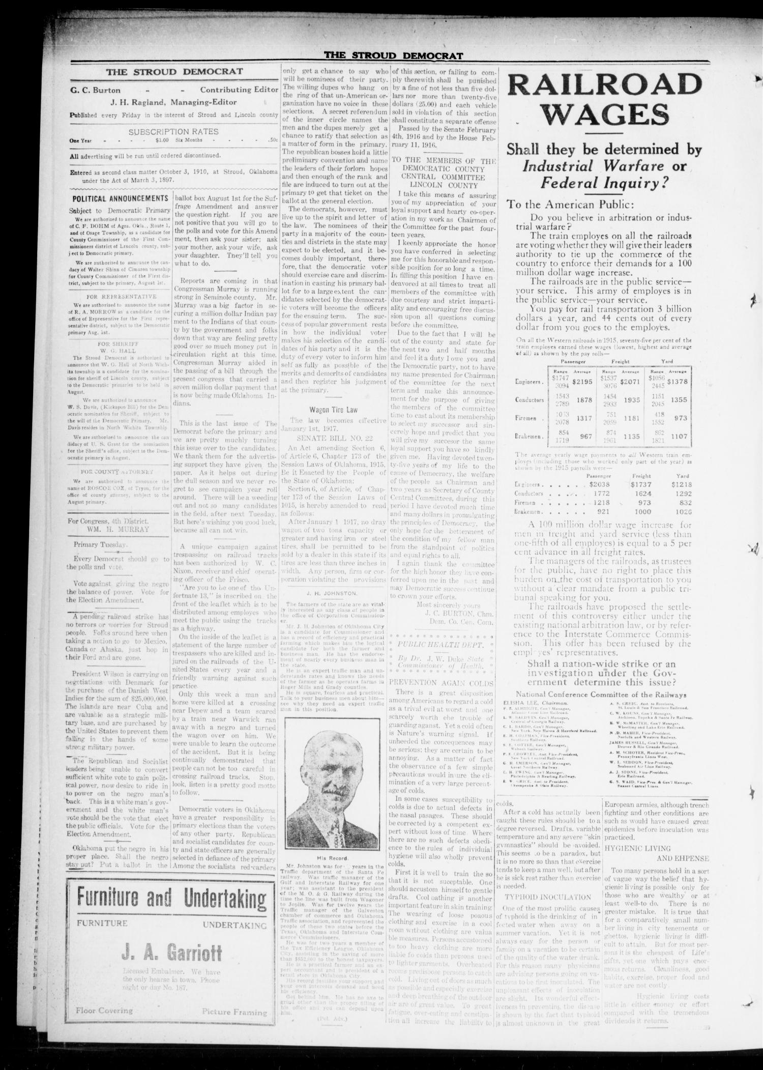 The Stroud Democrat (Stroud, Okla.), Vol. 6, No. 45, Ed. 1 Friday, July 28, 1916                                                                                                      [Sequence #]: 4 of 8