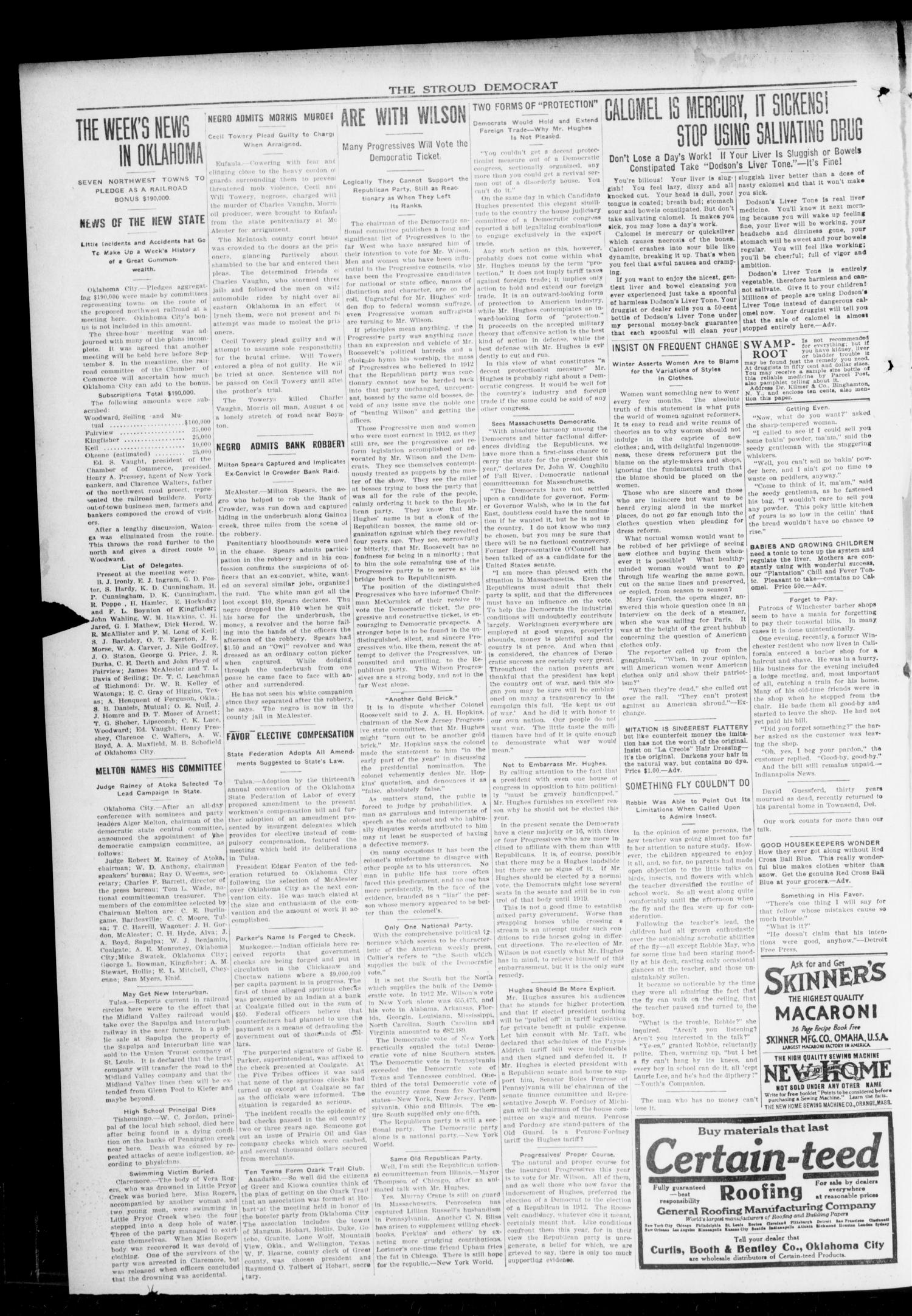 The Stroud Democrat (Stroud, Okla.), Vol. 6, No. 50, Ed. 1 Friday, September 1, 1916                                                                                                      [Sequence #]: 2 of 8