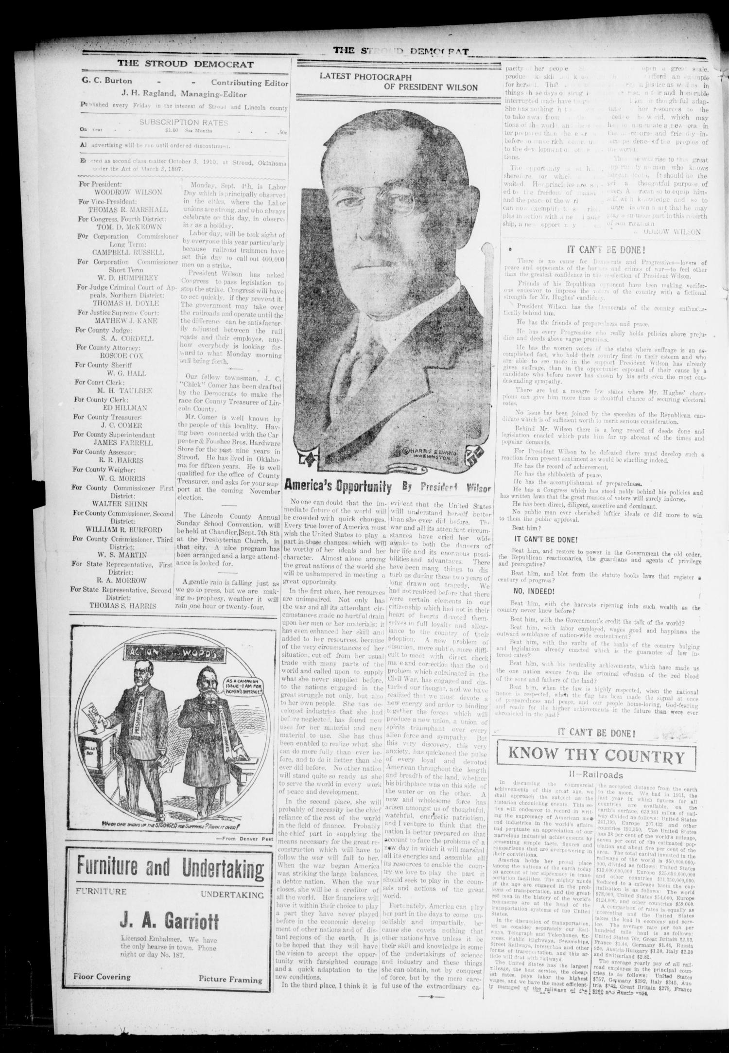 The Stroud Democrat (Stroud, Okla.), Vol. 6, No. 50, Ed. 1 Friday, September 1, 1916                                                                                                      [Sequence #]: 4 of 8