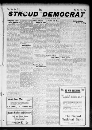 Primary view of object titled 'The Stroud Democrat (Stroud, Okla.), Vol. 8, No. 1, Ed. 1 Friday, September 28, 1917'.