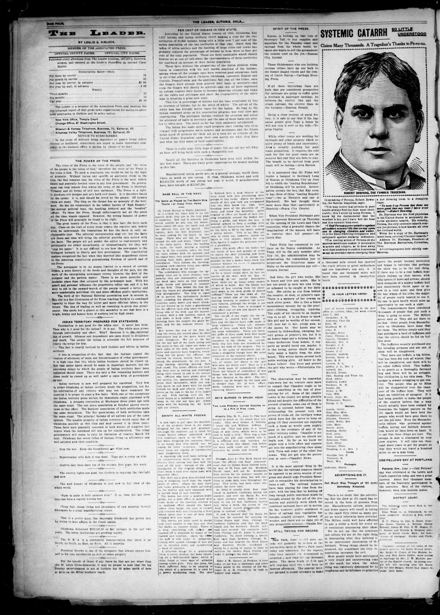 The Oklahoma Leader. (Guthrie, Okla.), Vol. 12, No. 16, Ed. 1 Thursday, June 8, 1905                                                                                                      [Sequence #]: 4 of 8