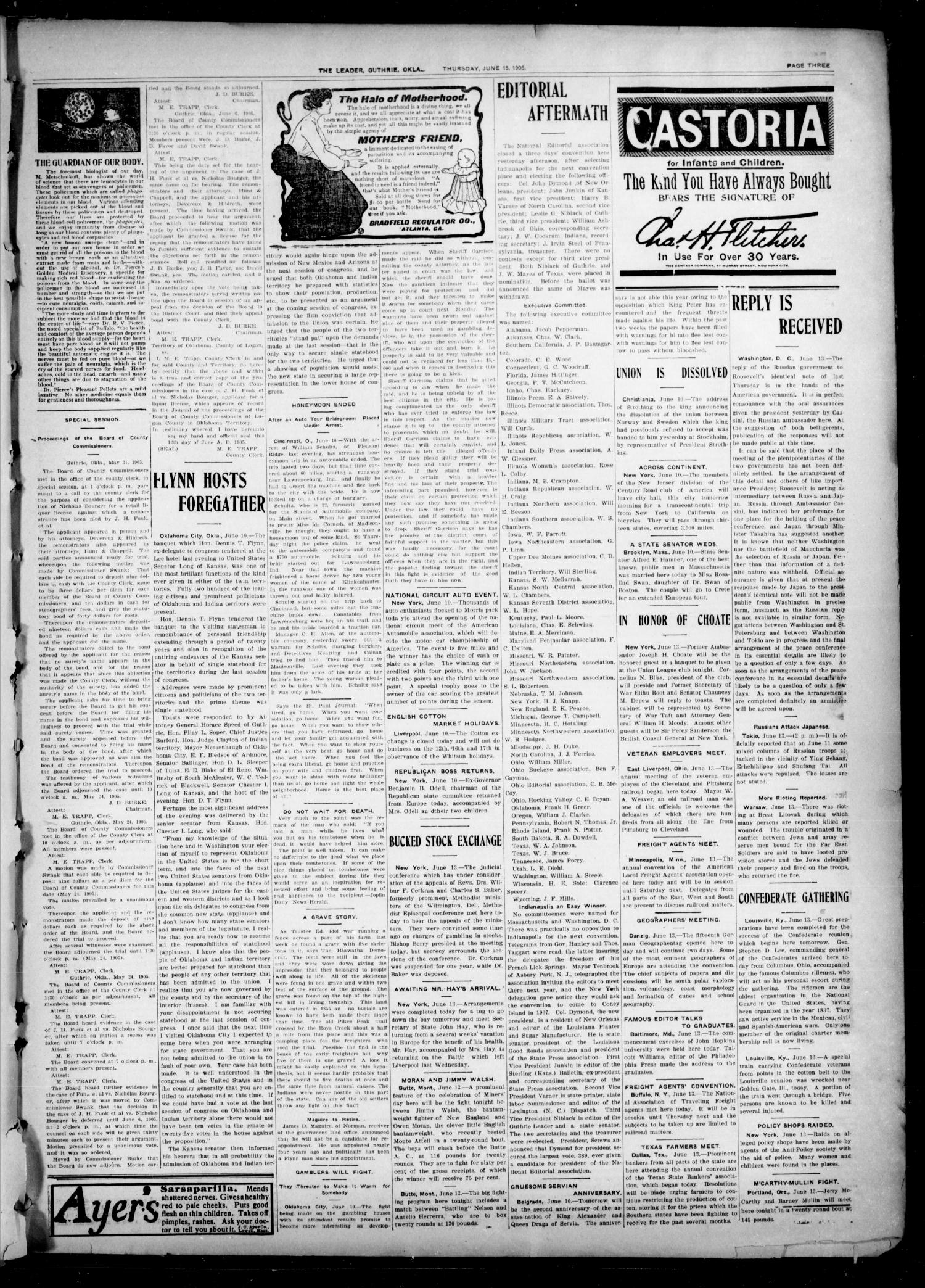 The Oklahoma Leader. (Guthrie, Okla.), Vol. 12, No. 17, Ed. 1 Thursday, June 15, 1905                                                                                                      [Sequence #]: 3 of 8