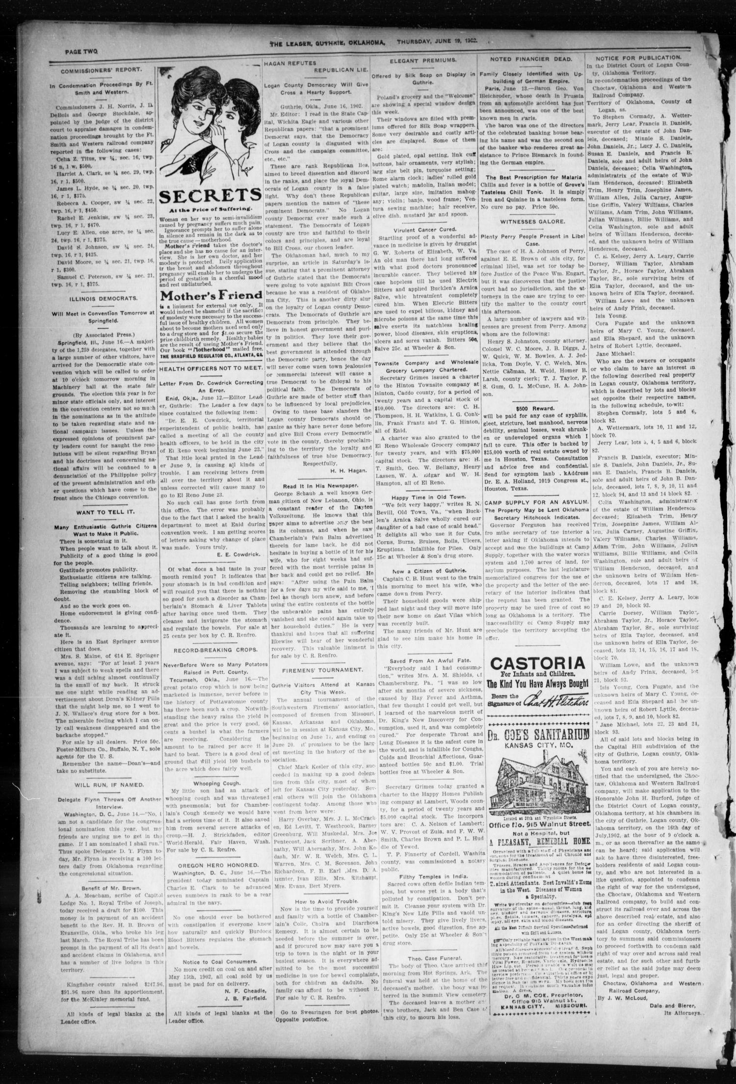 Oklahoma Leader. (Guthrie, Okla.), Vol. 10, No. 21, Ed. 1 Thursday, June 19, 1902                                                                                                      [Sequence #]: 2 of 8
