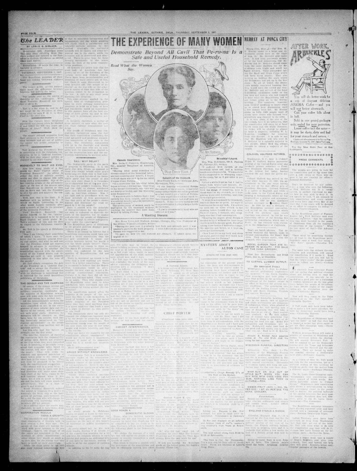 The Oklahoma Leader. (Guthrie, Okla.), Vol. 14, No. 19, Ed. 1 Thursday, September 5, 1907                                                                                                      [Sequence #]: 4 of 6