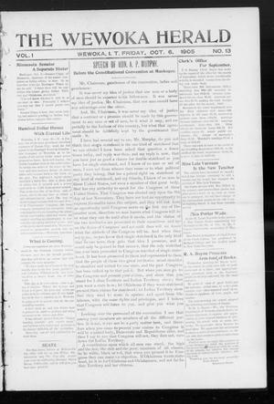 Primary view of object titled 'The Wewoka Herald (Wewoka, Indian Terr.), Vol. 1, No. 13, Ed. 1 Friday, October 6, 1905'.