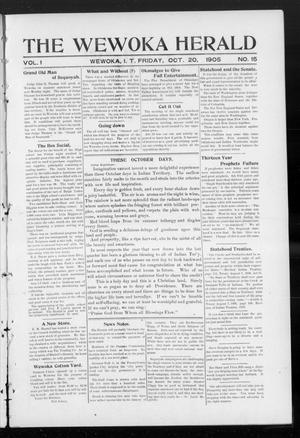 Primary view of object titled 'The Wewoka Herald (Wewoka, Indian Terr.), Vol. 1, No. 15, Ed. 1 Friday, October 20, 1905'.
