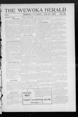 Primary view of object titled 'The Wewoka Herald (Wewoka, Indian Terr.), Vol. 1, No. 29, Ed. 1 Friday, January 26, 1906'.