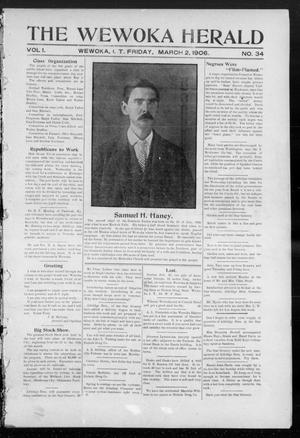 Primary view of object titled 'The Wewoka Herald (Wewoka, Indian Terr.), Vol. 1, No. 34, Ed. 1 Friday, March 2, 1906'.