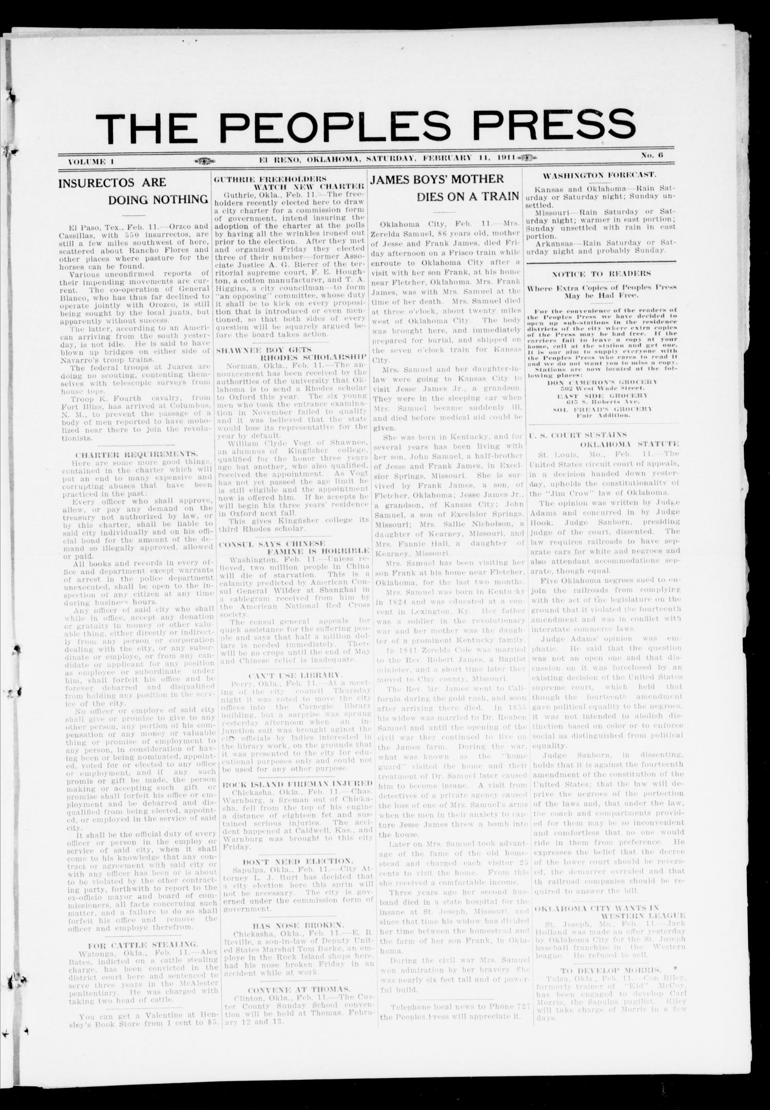 The Peoples Press (El Reno, Okla.), Vol. 1, No. 6, Ed. 1 Saturday, February 11, 1911                                                                                                      [Sequence #]: 1 of 4