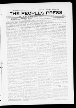 Primary view of object titled 'The Peoples Press (El Reno, Okla.), Vol. 1, No. 28, Ed. 1 Thursday, March 9, 1911'.