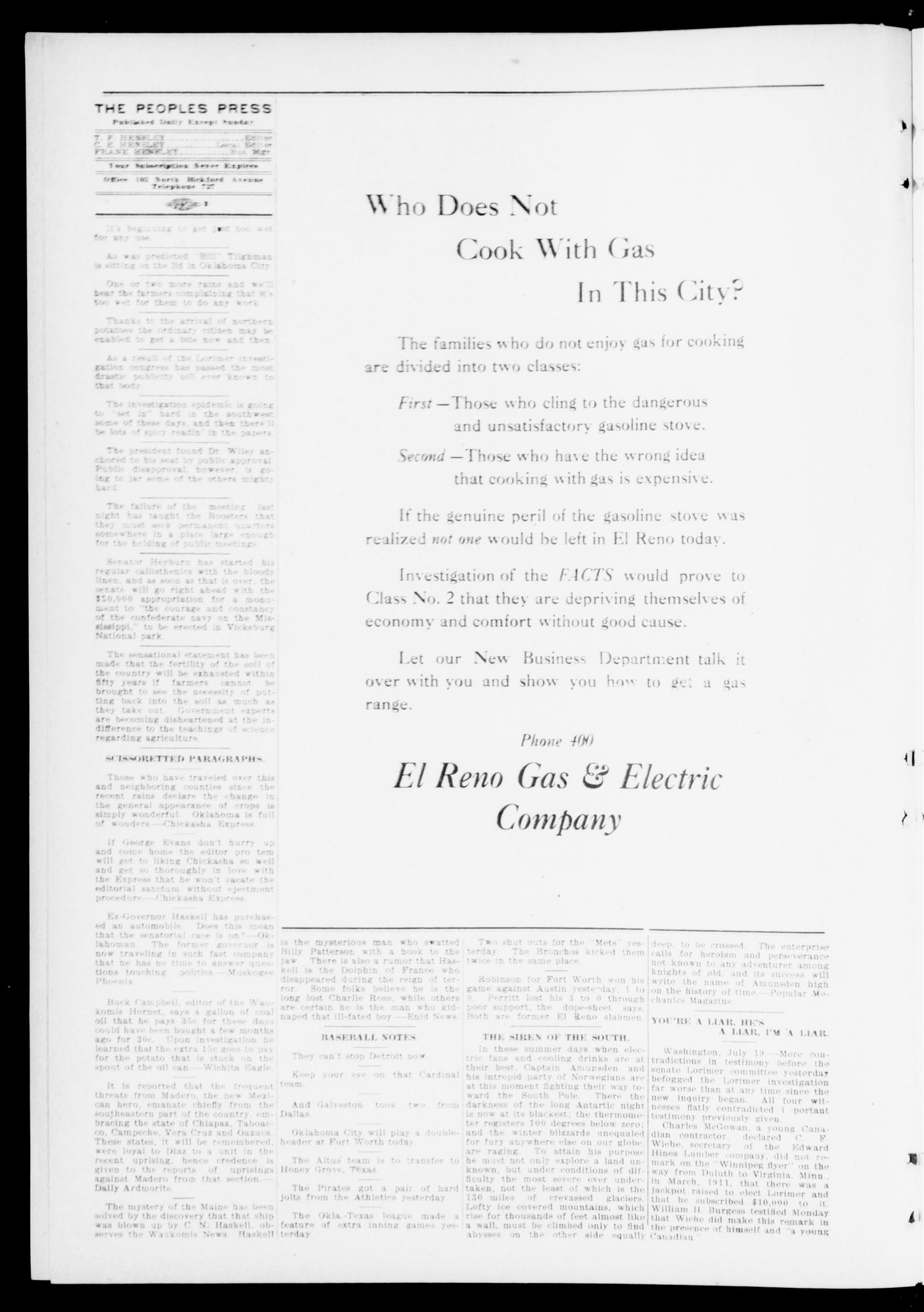 The Peoples Press (El Reno, Okla.), Vol. 1, No. 139, Ed. 1 Wednesday, July 19, 1911                                                                                                      [Sequence #]: 2 of 4