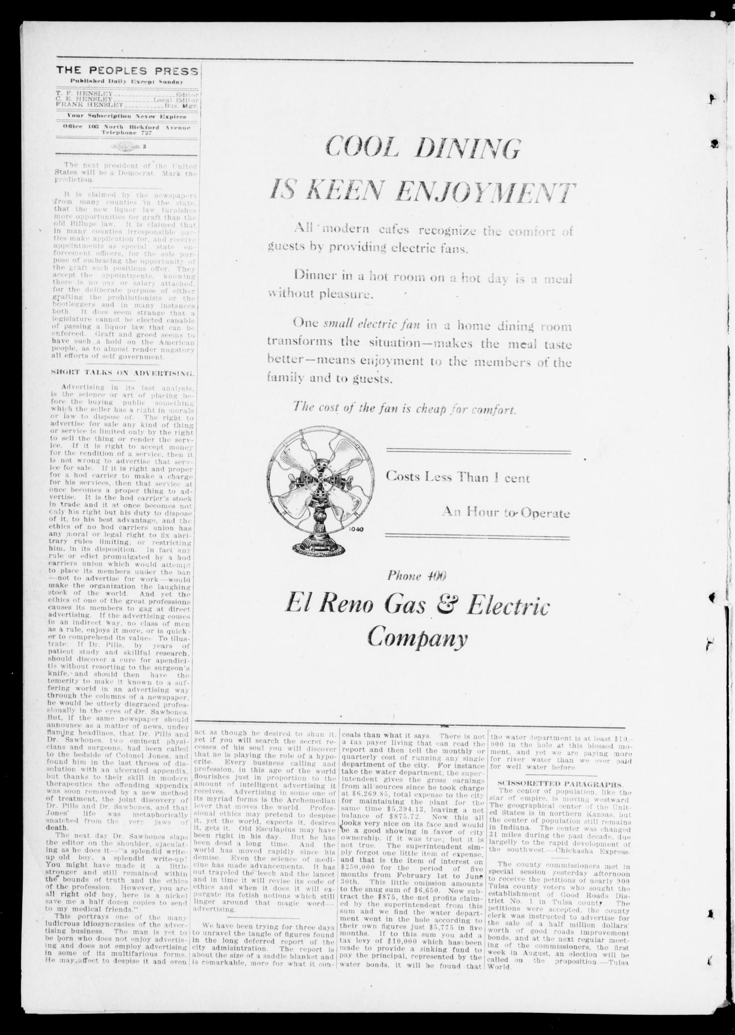 The Peoples Press (El Reno, Okla.), Vol. 1, No. 142, Ed. 1 Saturday, July 22, 1911                                                                                                      [Sequence #]: 2 of 4