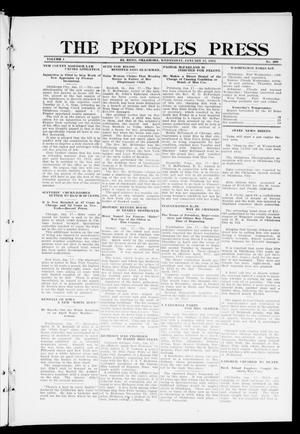 Primary view of object titled 'The Peoples Press (El Reno, Okla.), Vol. 1, No. 290, Ed. 1 Wednesday, January 17, 1912'.