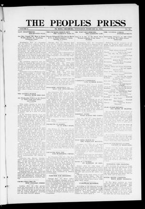 Primary view of object titled 'The Peoples Press (El Reno, Okla.), Vol. 2, No. 14, Ed. 1 Wednesday, February 21, 1912'.