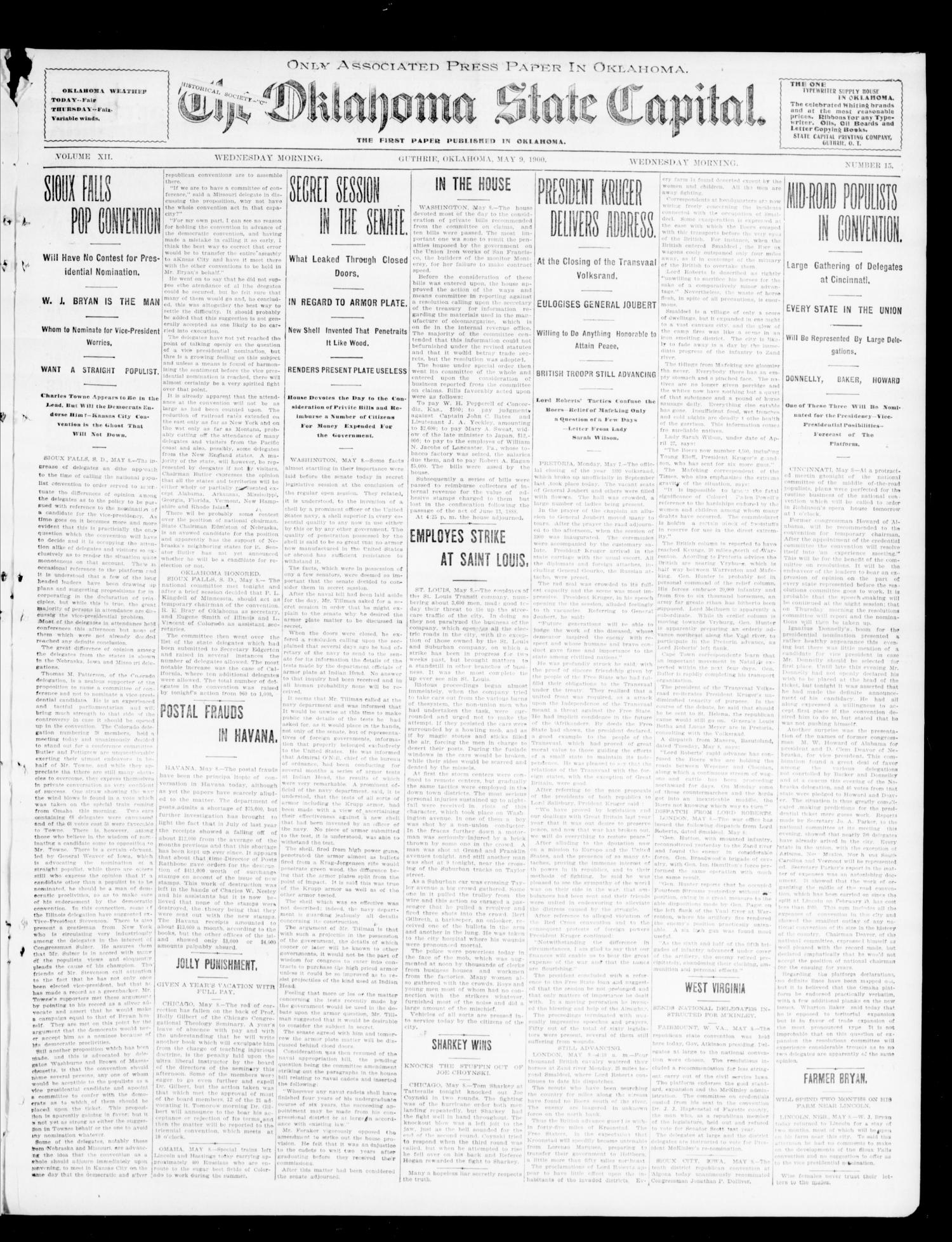 The Oklahoma State Capital. (Guthrie, Okla.), Vol. 12, No. 15, Ed. 1 Wednesday, May 9, 1900                                                                                                      [Sequence #]: 3 of 8