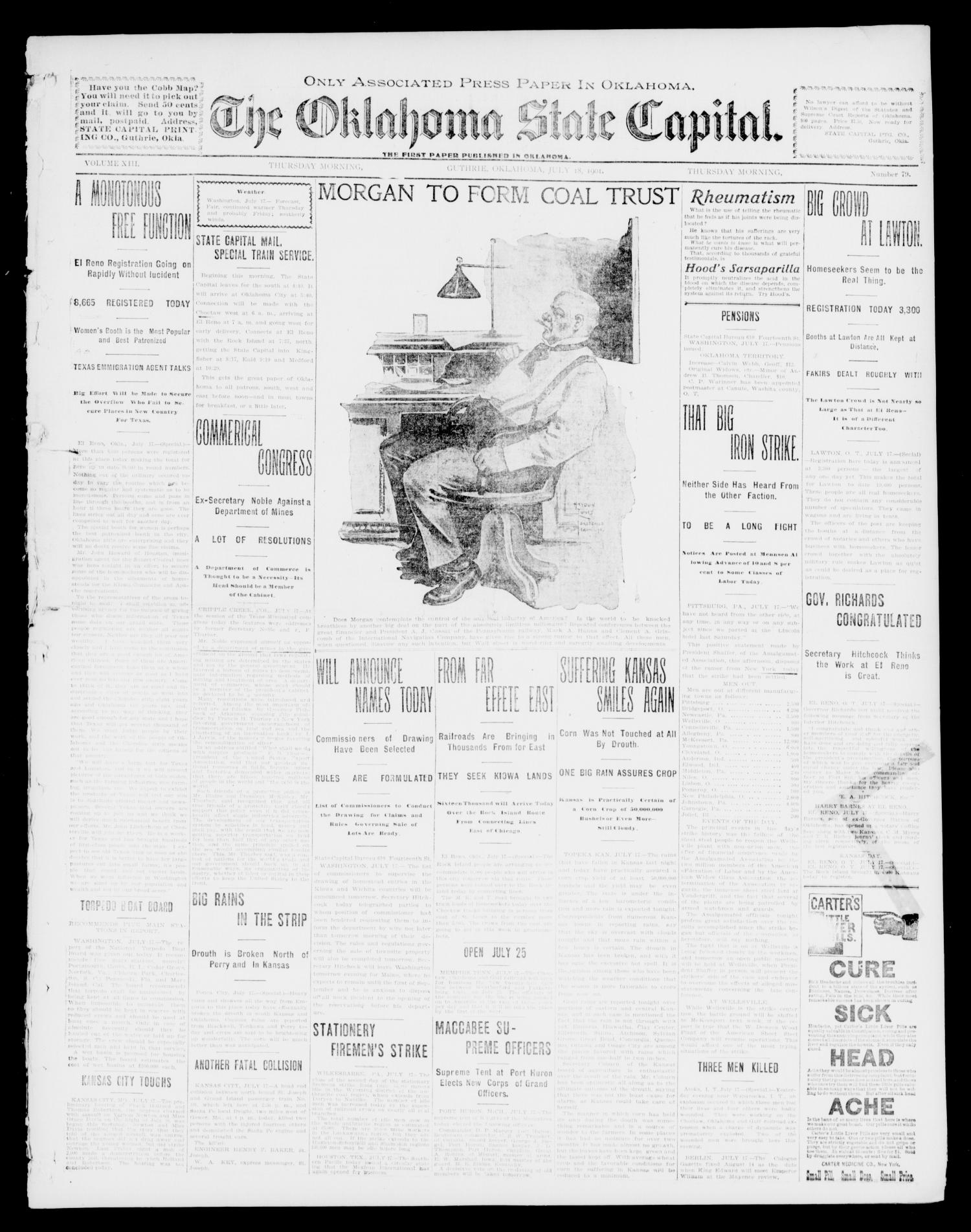 The Oklahoma State Capital. (Guthrie, Okla.), Vol. 13, No. 78, Ed. 1 Thursday, July 18, 1901                                                                                                      [Sequence #]: 1 of 8