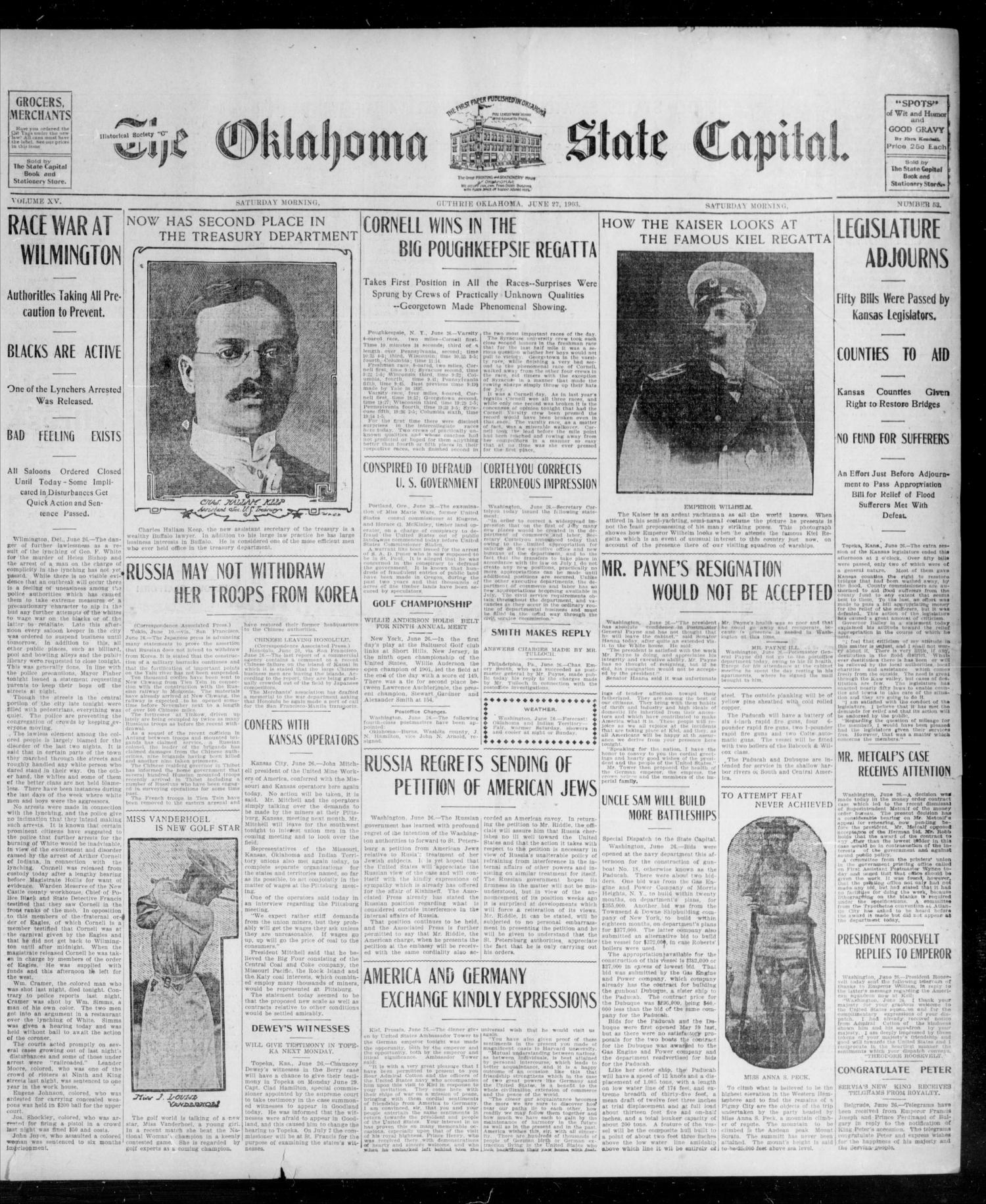 The Oklahoma State Capital. (Guthrie, Okla.), Vol. 15, No. 53, Ed. 1 Saturday, June 27, 1903                                                                                                      [Sequence #]: 1 of 8