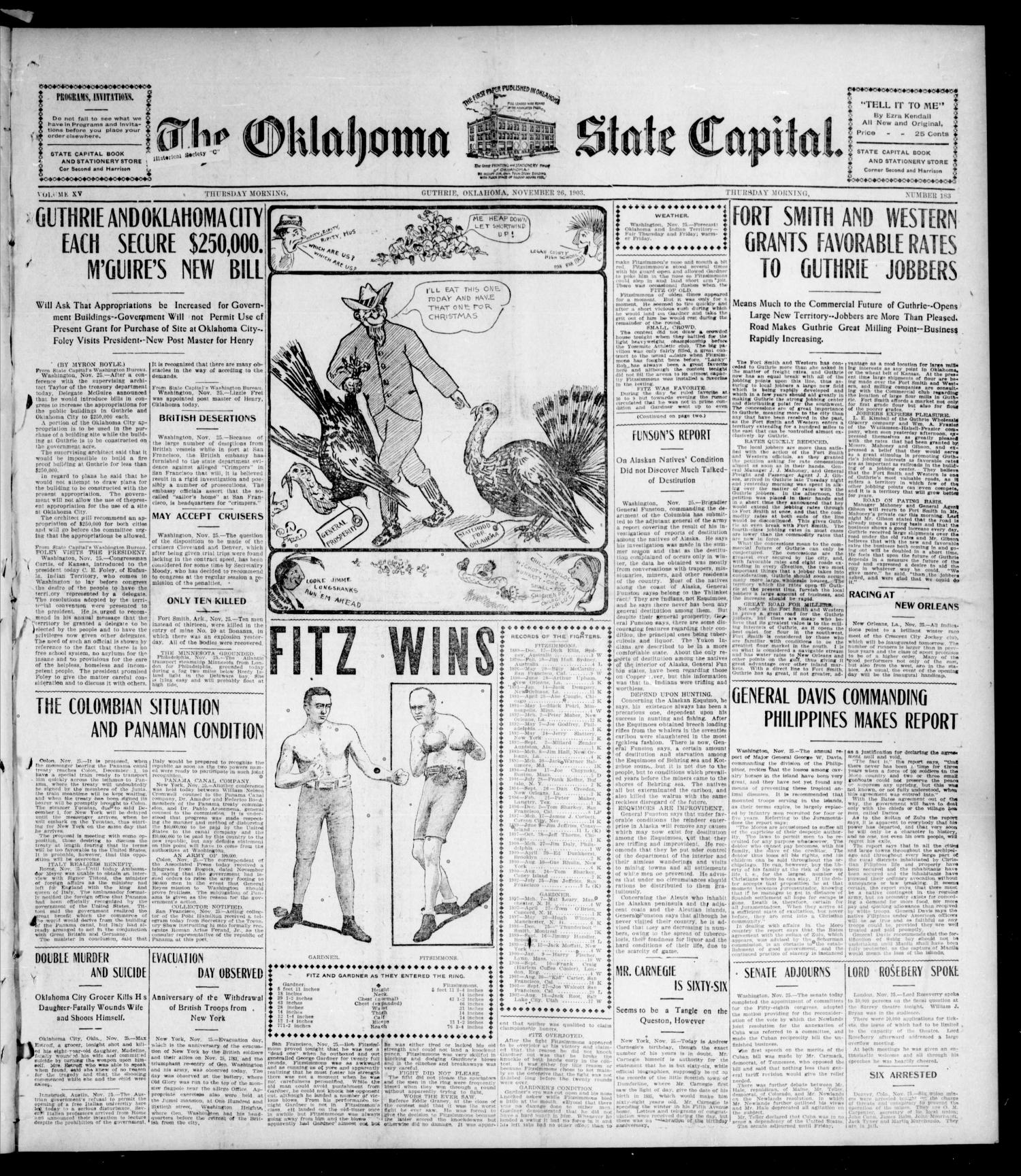 The Oklahoma State Capital. (Guthrie, Okla.), Vol. 15, No. 183, Ed. 1 Thursday, November 26, 1903                                                                                                      [Sequence #]: 1 of 8