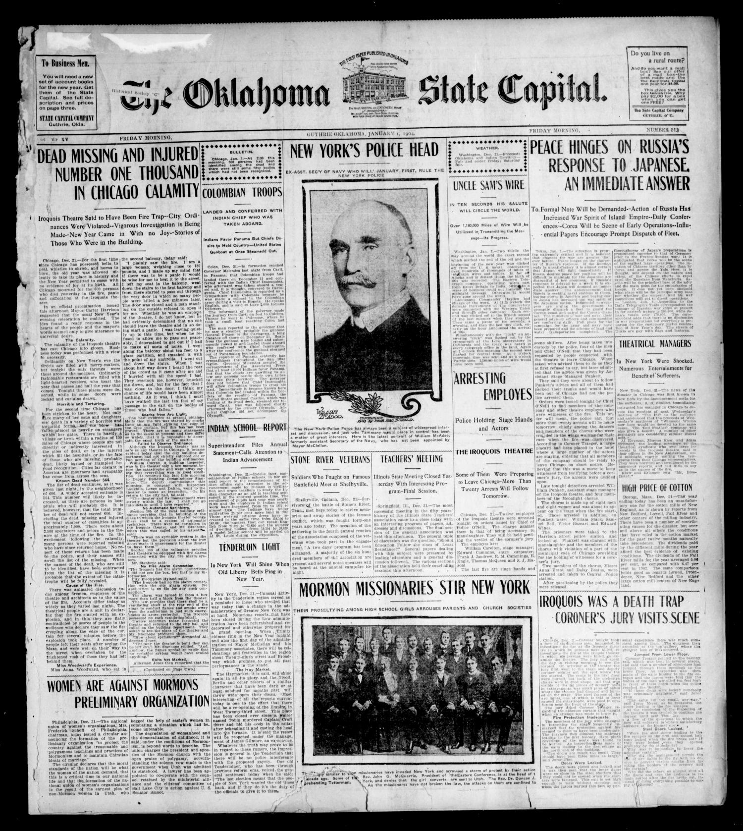 The Oklahoma State Capital. (Guthrie, Okla.), Vol. 15, No. 213, Ed. 1 Friday, January 1, 1904                                                                                                      [Sequence #]: 1 of 8