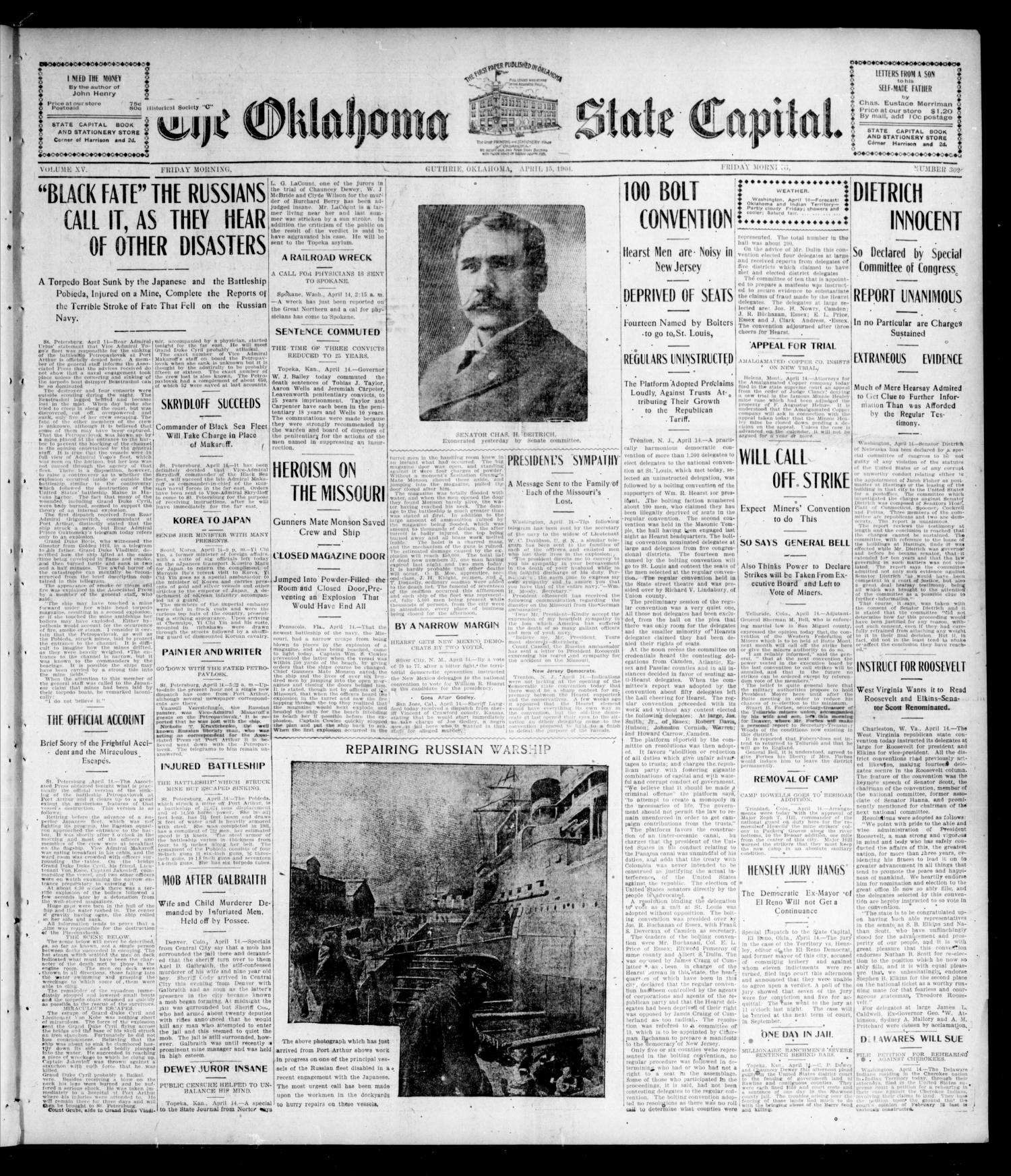 The Oklahoma State Capital. (Guthrie, Okla.), Vol. 15, No. 302, Ed. 1 Friday, April 15, 1904                                                                                                      [Sequence #]: 1 of 8