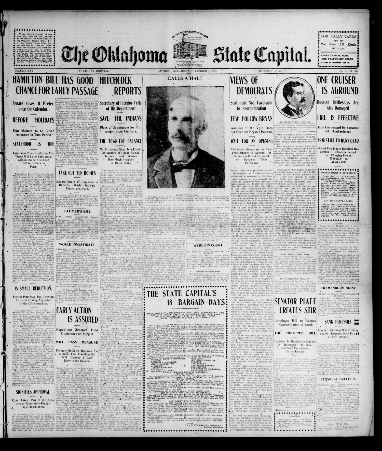 The Oklahoma State Capital. (Guthrie, Okla.), Vol. 16, No. 197, Ed. 1 Thursday, December 8, 1904                                                                                                      [Sequence #]: 1 of 8