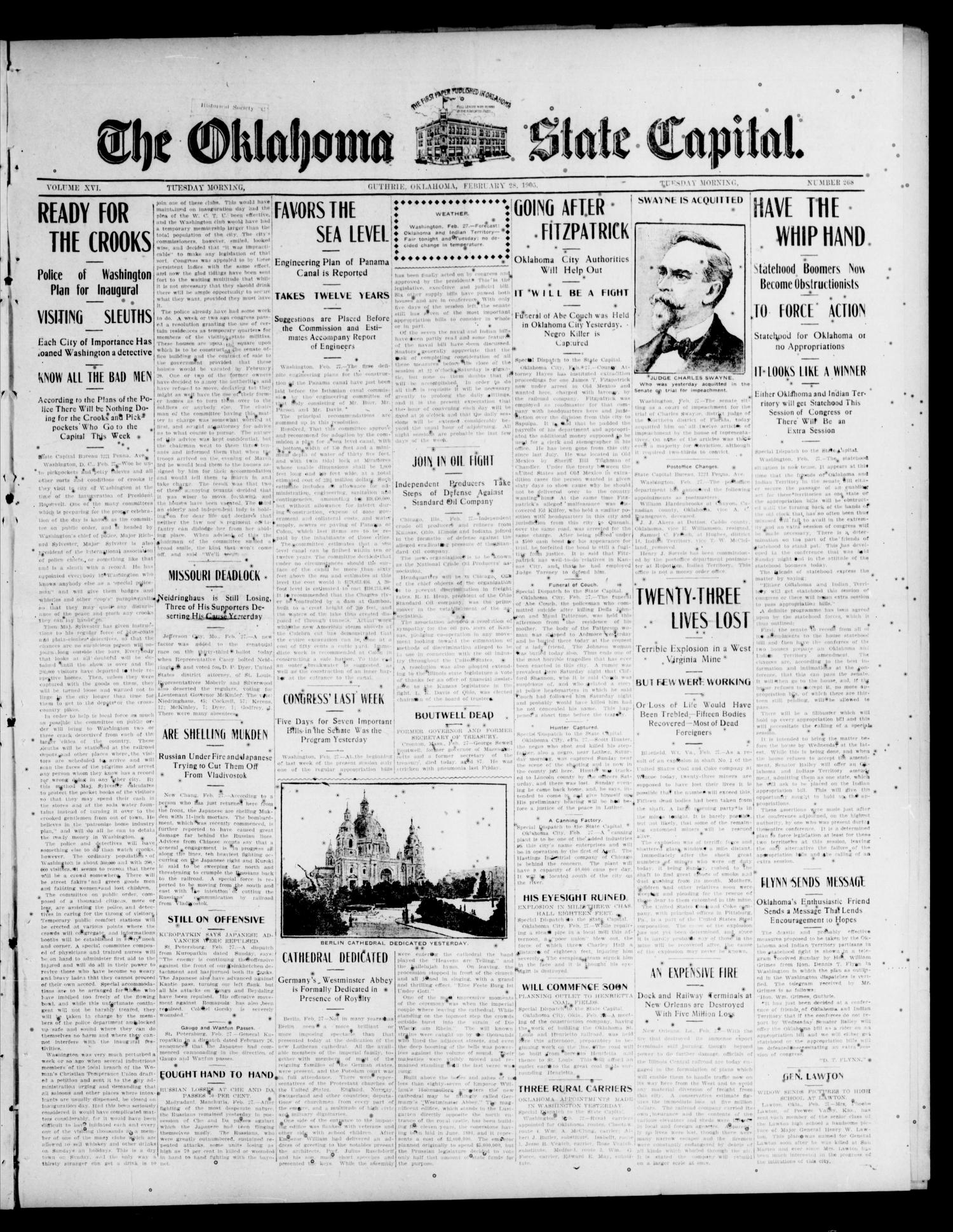 The Oklahoma State Capital. (Guthrie, Okla.), Vol. 16, No. 268, Ed. 1 Tuesday, February 28, 1905                                                                                                      [Sequence #]: 1 of 8