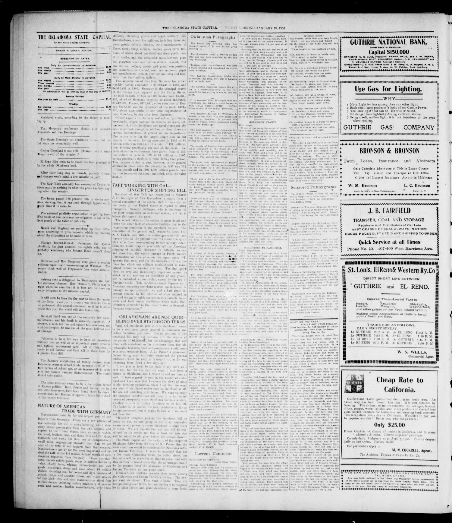 The Oklahoma State Capital. (Guthrie, Okla.), Vol. 17, No. 234, Ed. 1 Friday, January 19, 1906                                                                                                      [Sequence #]: 4 of 8