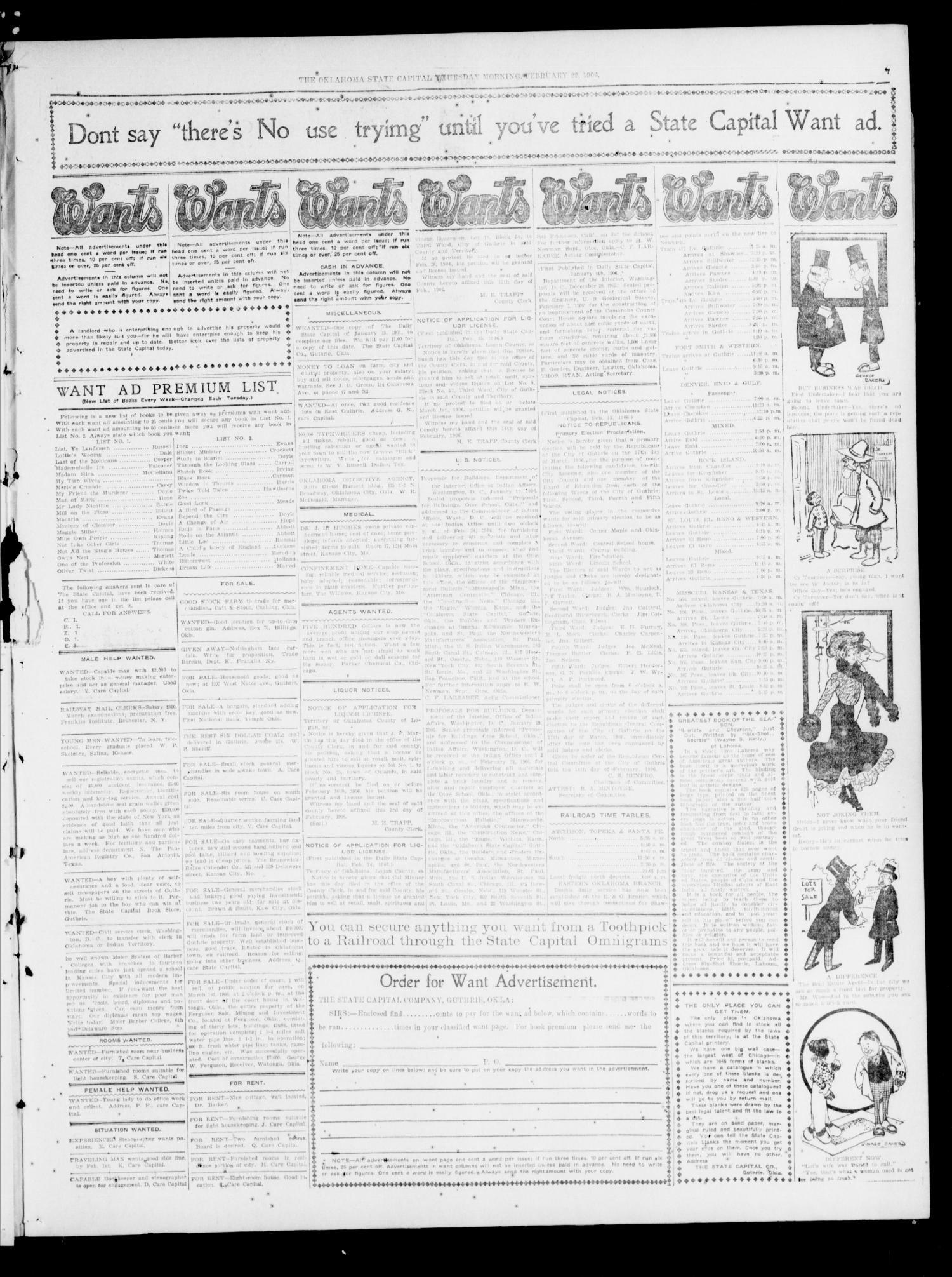 The Oklahoma State Capital Guthrie Okla Vol 17 No 267 Ed  # Pose Tele En Boi