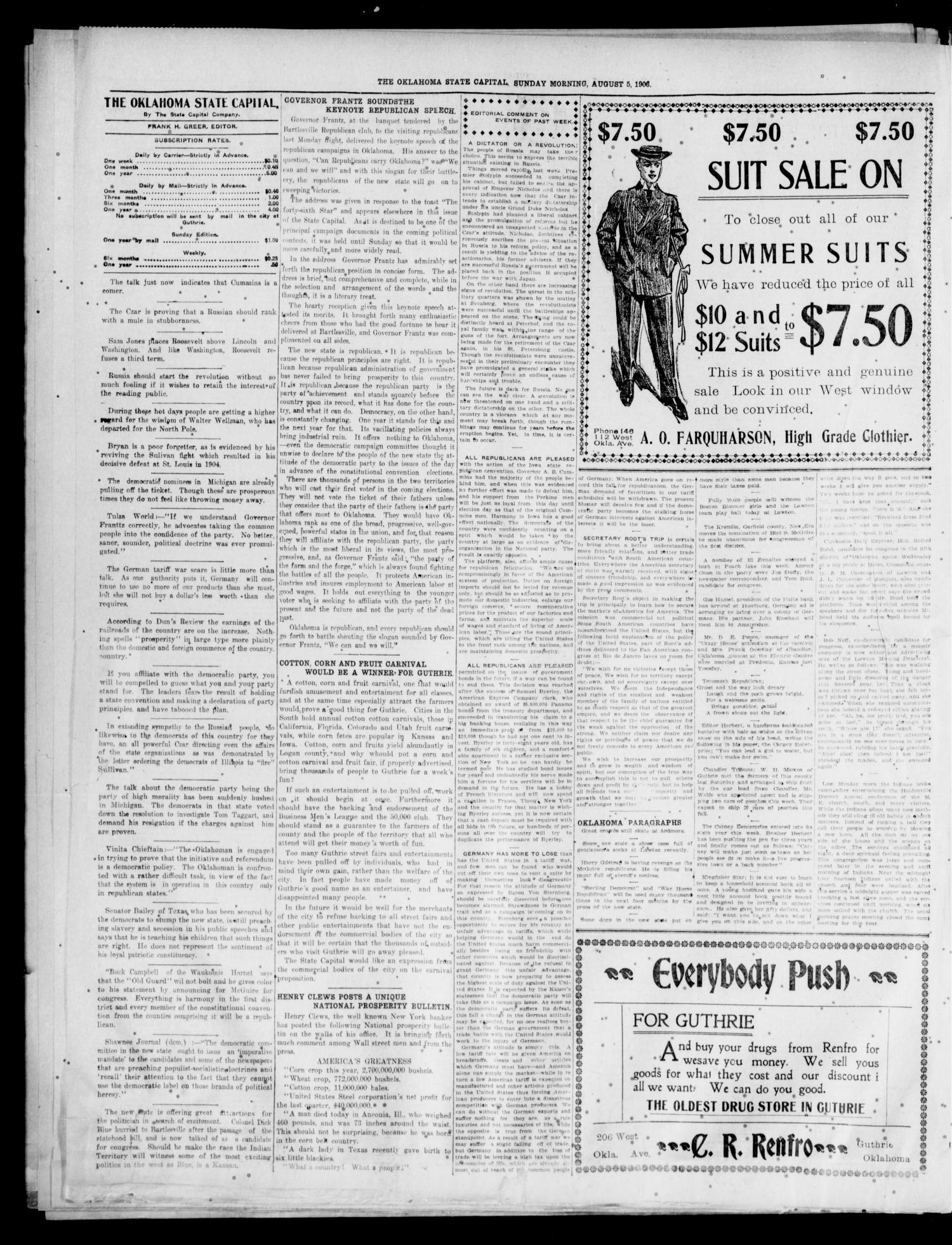 The Oklahoma State Capital. (Guthrie, Okla.), Vol. 18, No. 88, Ed. 2 Sunday, August 5, 1906                                                                                                      [Sequence #]: 4 of 8