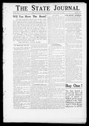 Primary view of The State Journal (Mulhall, Okla.), Vol. 8, No. 17, Ed. 1 Friday, April 1, 1910