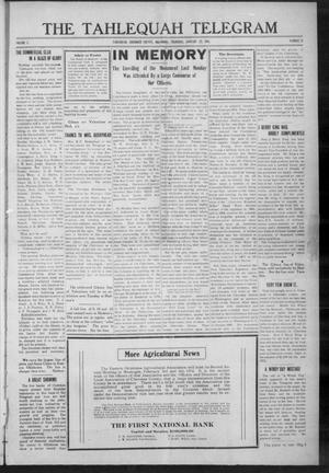 Primary view of object titled 'The Tahlequah Telegram (Tahlequah, Okla.), Vol. 1, No. 24, Ed. 1 Thursday, January 22, 1914'.