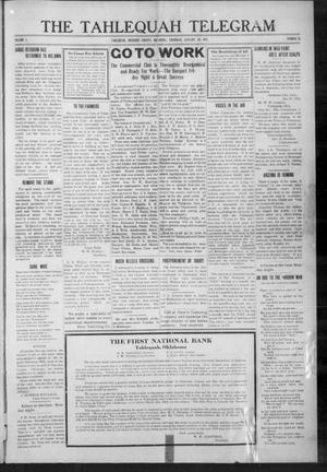 Primary view of object titled 'The Tahlequah Telegram (Tahlequah, Okla.), Vol. 1, No. 25, Ed. 1 Thursday, January 29, 1914'.