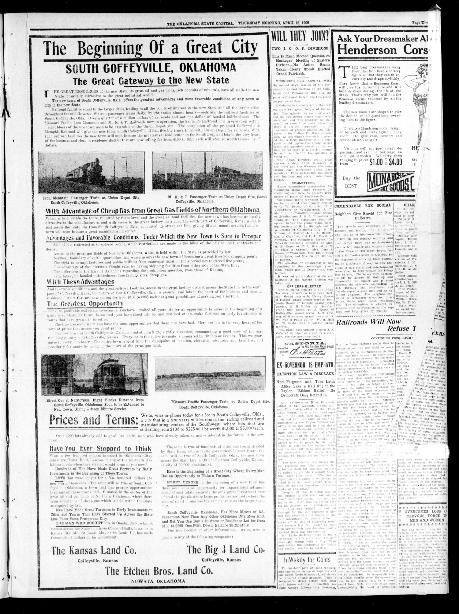 The Oklahoma State Capital. (Guthrie, Okla.), Vol. 20, No. 303, Ed. 1 Thursday, April 15, 1909                                                                                                      [Sequence #]: 3 of 8