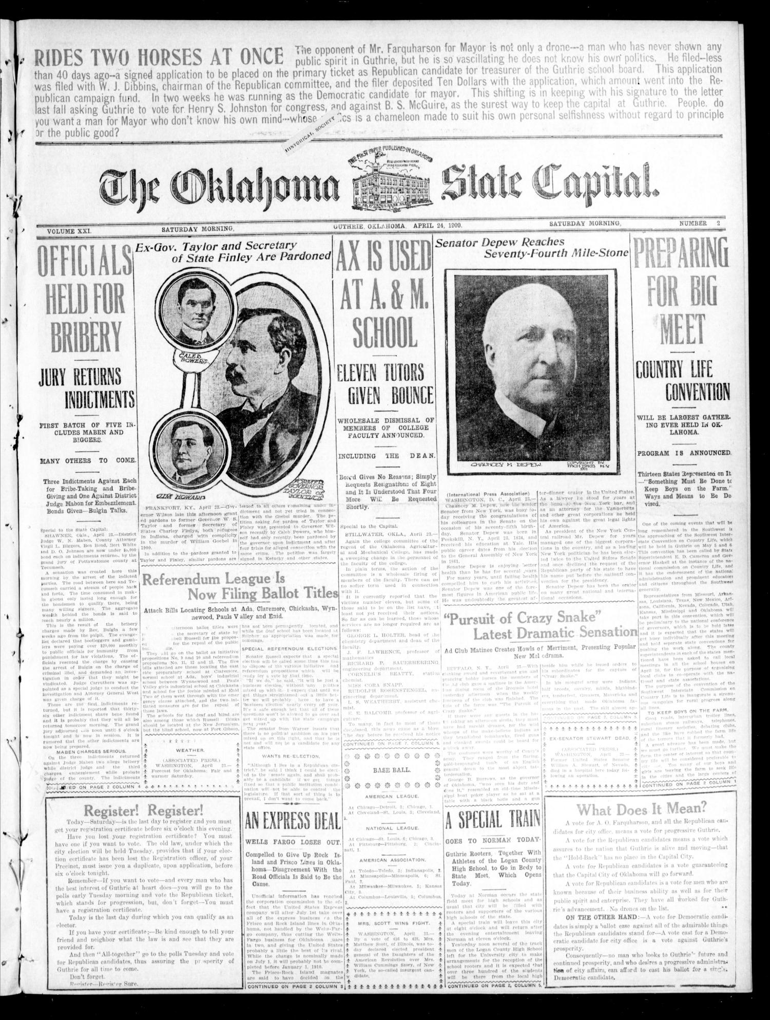 The Oklahoma State Capital. (Guthrie, Okla.), Vol. 21, No. 2, Ed. 1 Saturday, April 24, 1909                                                                                                      [Sequence #]: 1 of 8