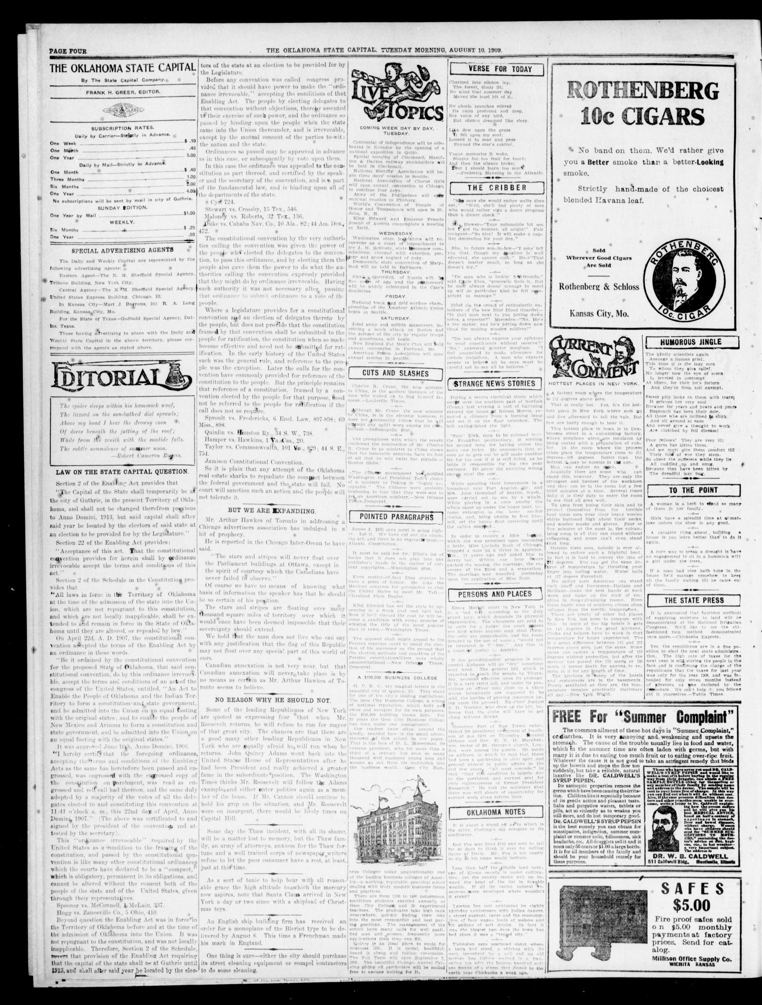 The Oklahoma State Capital. (Guthrie, Okla.), Vol. 1, No. 89, Ed. 1 Tuesday, August 10, 1909                                                                                                      [Sequence #]: 4 of 8