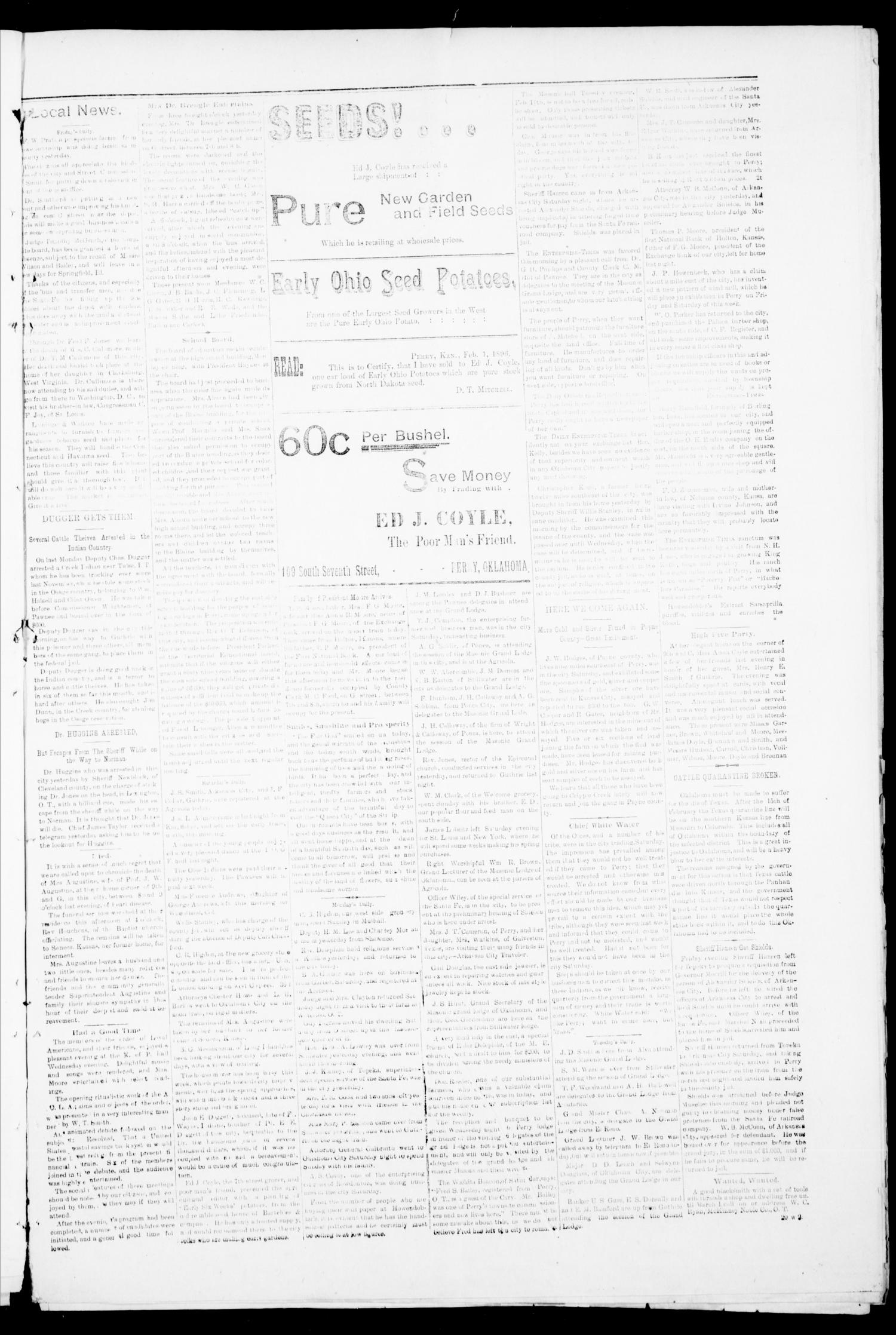 Perry Enterprise-Times. (Perry, Okla.), Vol. 2, No. 24, Ed. 1 Thursday, February 13, 1896                                                                                                      [Sequence #]: 3 of 8