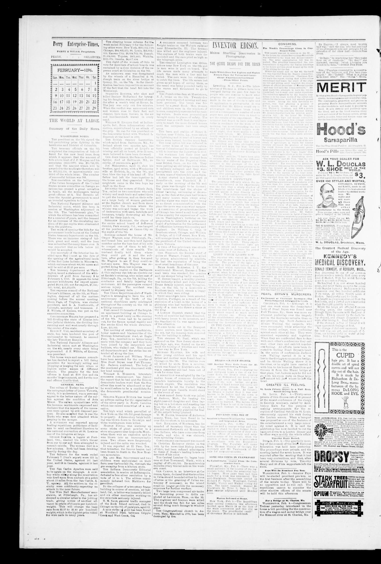 Perry Enterprise-Times. (Perry, Okla.), Vol. 2, No. 24, Ed. 1 Thursday, February 13, 1896                                                                                                      [Sequence #]: 4 of 8