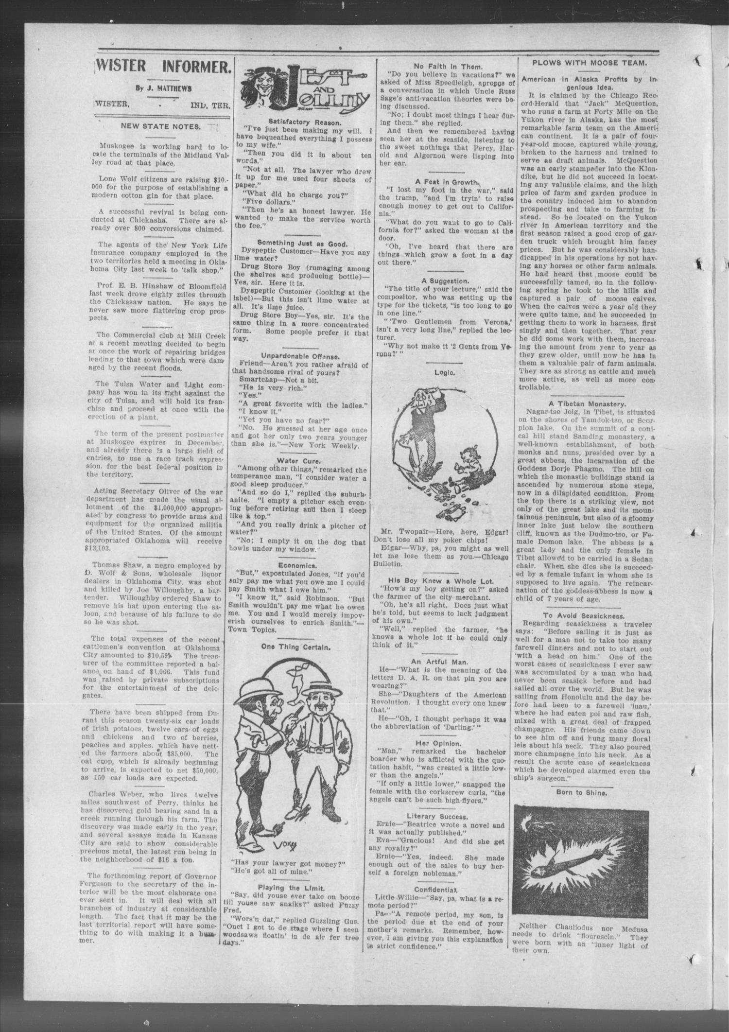 The Wister Informer. (Wister, Indian Terr.), Vol. 1, No. 16, Ed. 1 Saturday, July 23, 1904                                                                                                      [Sequence #]: 2 of 8