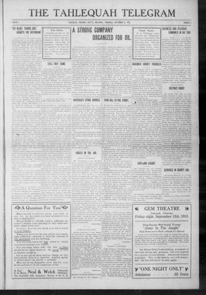 Primary view of object titled 'The Tahlequah Telegram (Tahlequah, Okla.), Vol. 1, No. 4, Ed. 1 Thursday, September 11, 1913'.