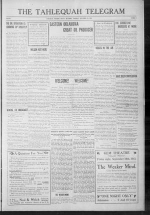 Primary view of object titled 'The Tahlequah Telegram (Tahlequah, Okla.), Vol. 1, No. 5, Ed. 1 Thursday, September 18, 1913'.