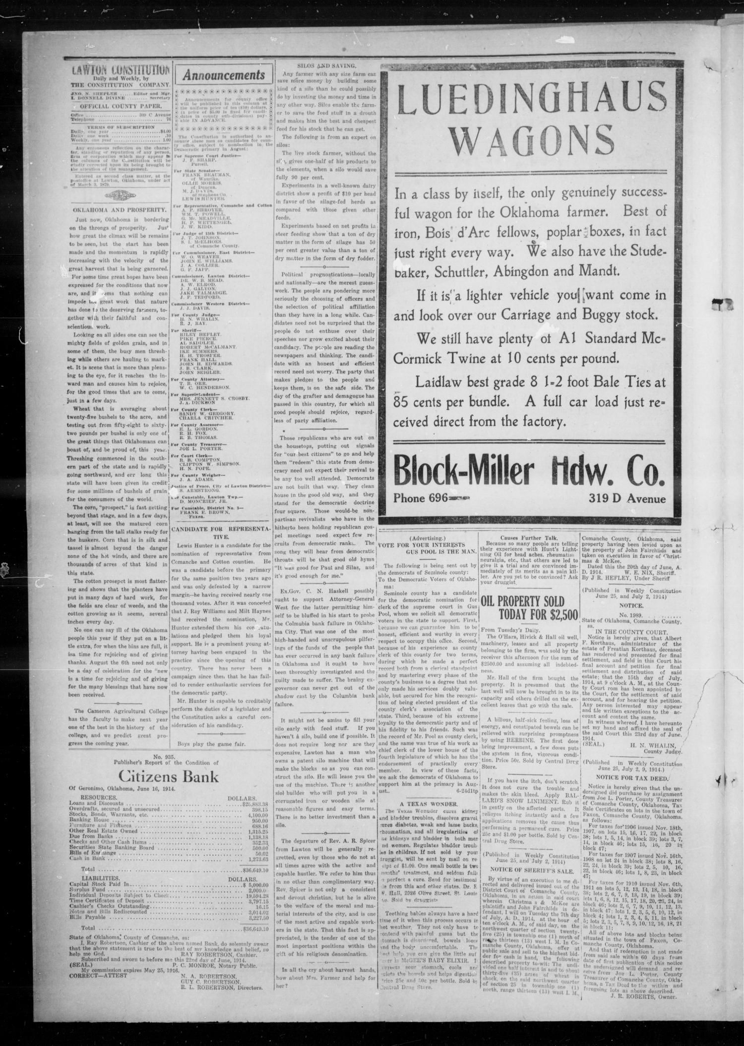 The Lawton Constitution (Lawton, Okla.), Vol. 12, No. 45, Ed. 1 Thursday, June 25, 1914                                                                                                      [Sequence #]: 4 of 8