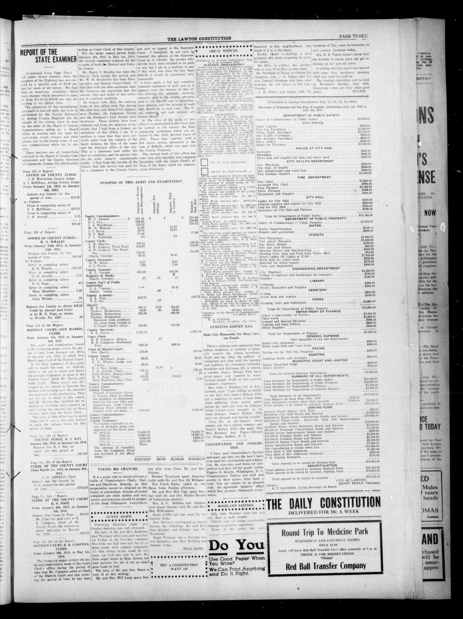 The Lawton Constitution (Lawton, Okla.), Vol. 15, No. 291, Ed. 1 Friday, July 14, 1916                                                                                                      [Sequence #]: 3 of 8