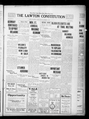 Primary view of object titled 'The Lawton Constitution (Lawton, Okla.), Vol. 16, No. 92, Ed. 1 Tuesday, November 21, 1916'.
