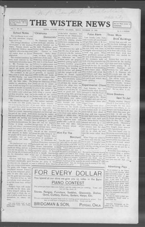 Primary view of object titled 'The Wister News (Wister, Okla.), Vol. 1, No. 12, Ed. 1 Friday, November 19, 1909'.