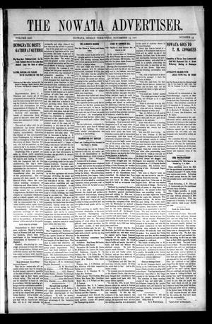 Primary view of object titled 'The Nowata Advertiser. (Nowata, Indian Terr.), Vol. 13, No. 35, Ed. 1 Friday, November 15, 1907'.